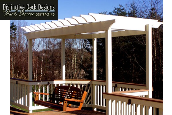 pergola swing as part of backyard deck design