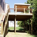 Cabana with Large Deck and Stairs to Grade