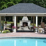 Pool Cabana with Paver Patio and Outdoor Fireplace