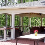 Covered Porch with Composite Deck, Lighted Rail
