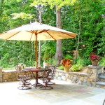 Flagstone  Patio with Stone Walls