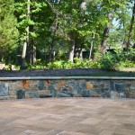 Natural Stone Wall with Techo Bloc Blu 60 Pavers