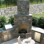 Stone Fireplace and Outdoor Kitchen