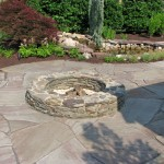 Stone Firepit with Flagstone Patio