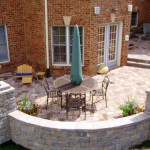 Paver Patio with Sitting Wall and  Lighted Pillars
