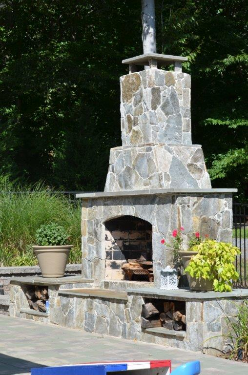 outdoor fireplace installation