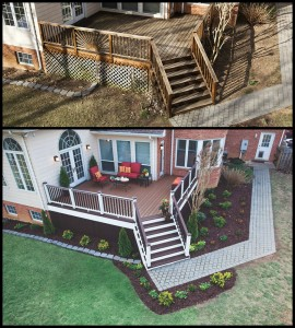 TREX accents decking aerial stair before and after
