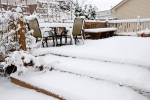 snow covered outdoor living space in Northern Virginia