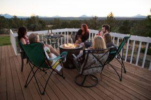 Friends enjoy dinner on a Northern Virginia deck