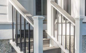 Trex deck railings in island mist in the transcend collection