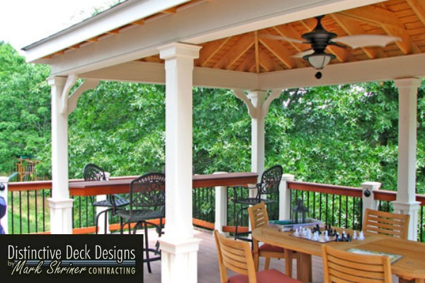 Covered patio design on a Northern Virginia deck