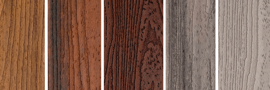 Swatches of Trex decking colors