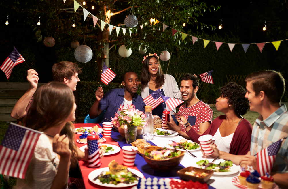 Friends gathered around table to celebrate the 4th of July in Fairfax, VA