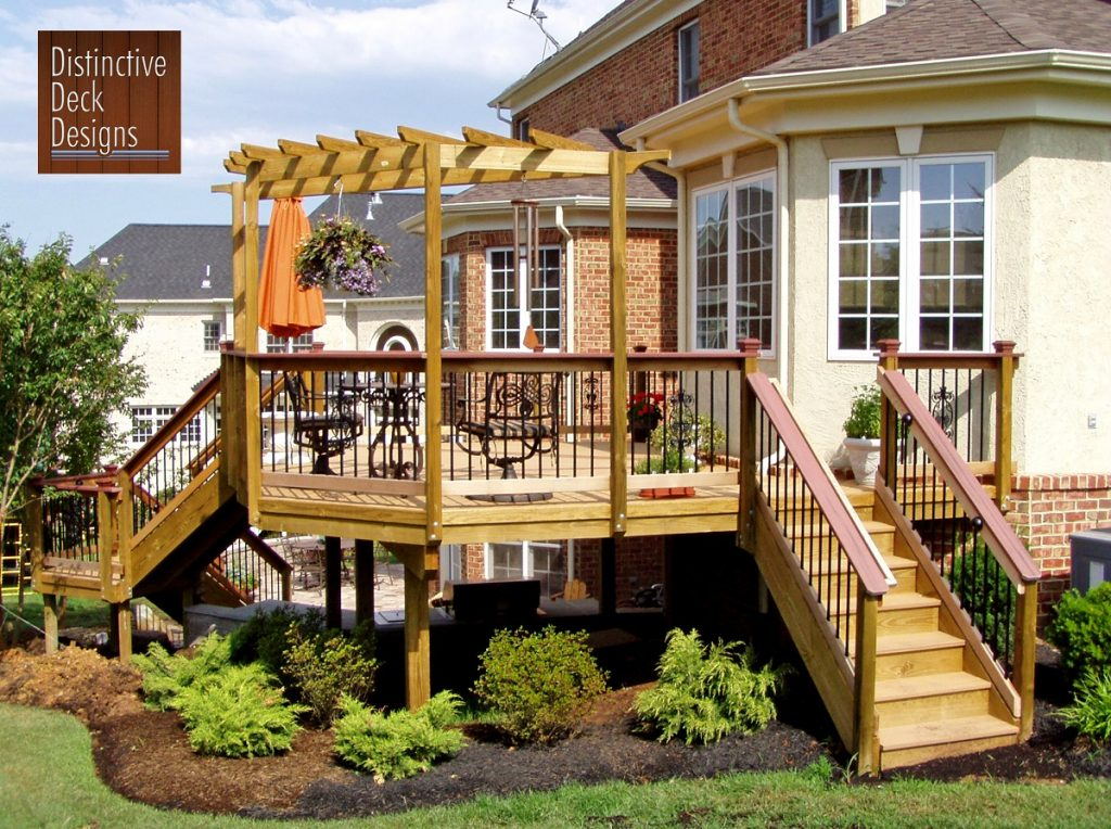 Composite deck surrounded by beautiful landscaping in Fairfax, VA