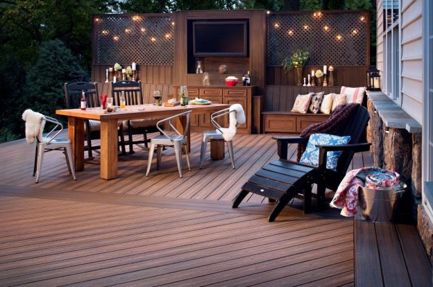 Deck with outdoor seating and dining table