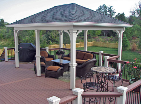 Covered living area deck designs.