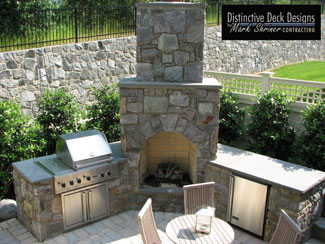 Distinctive Deck Designs Outdoor Fireplace
